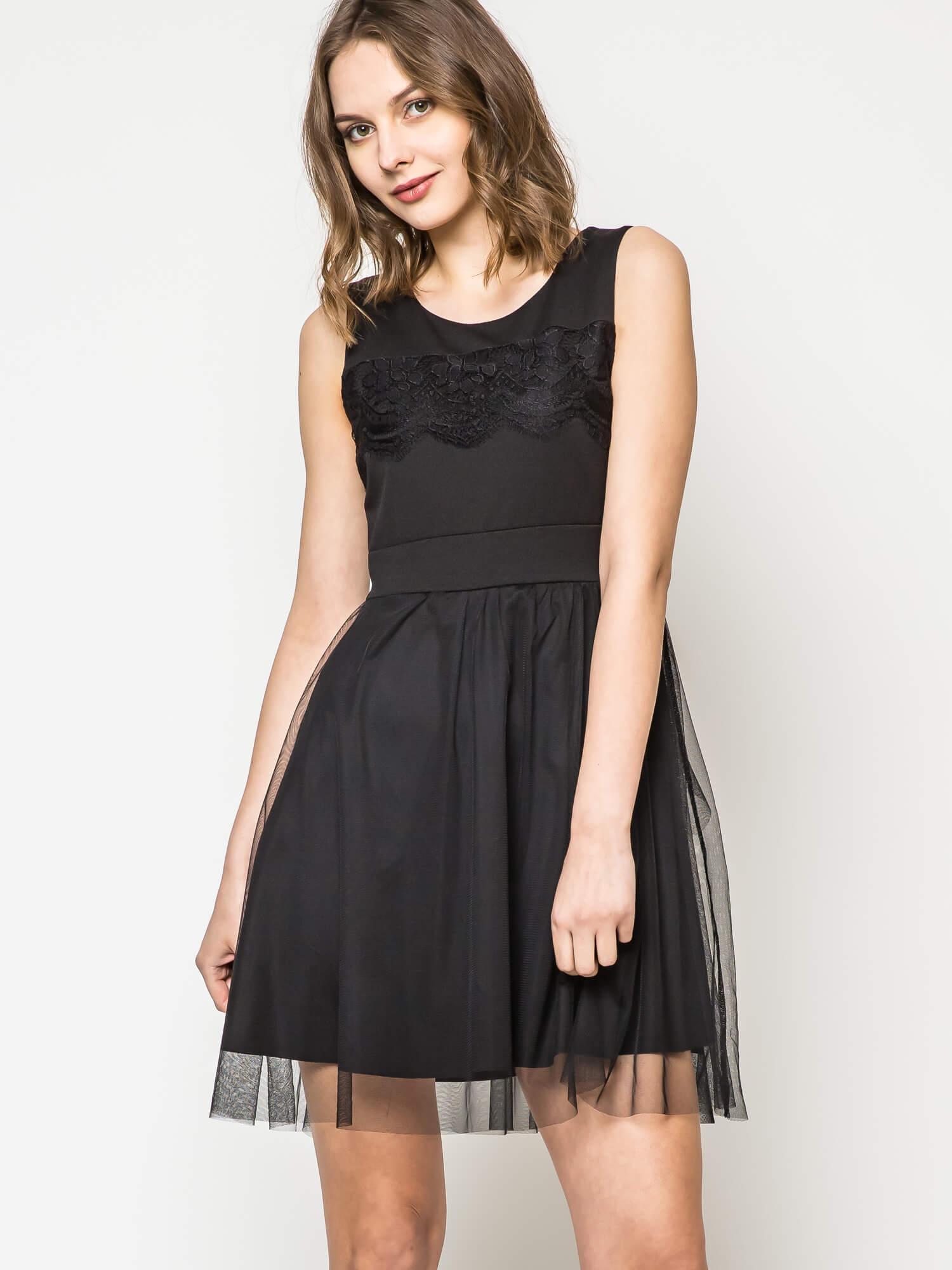 Sukienka zdobiona koronką czarna